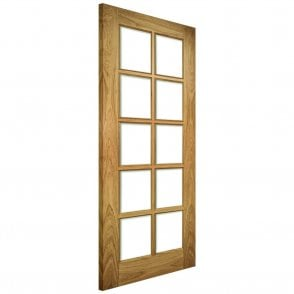 Bristol Un-Finished Internal Oak Door with Clear Bevelled Glass