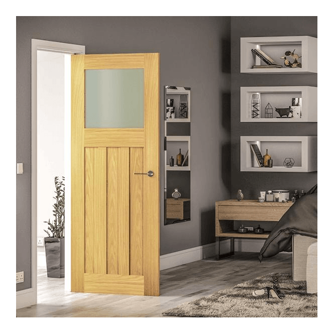 Deanta Cambridge Un-Finished Internal Oak Door with Obscure Glass