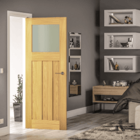 Cambridge Un-Finished Internal Oak Door with Obscure Glass