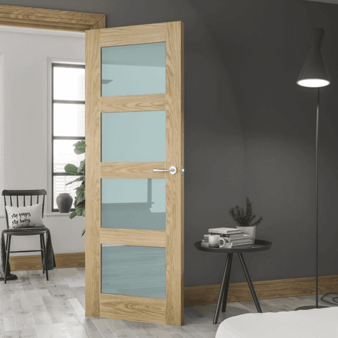 Deanta Coventry Pre-Finished Internal Oak Door with Obscure Glass