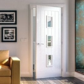Ely Internal White Primed Door with Clear Glass