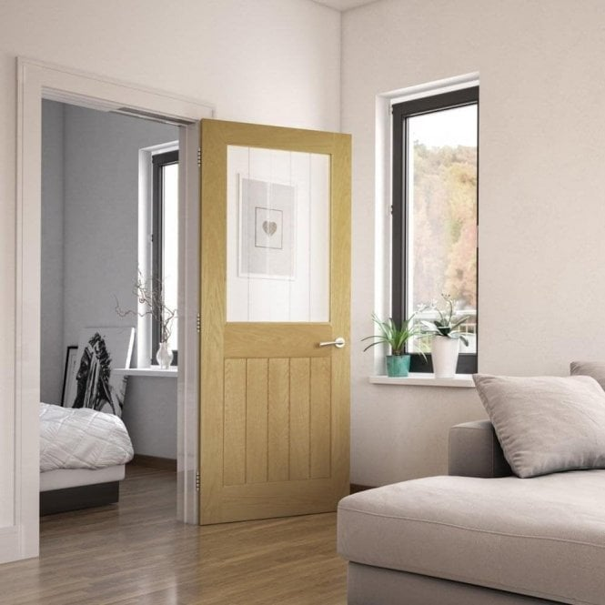 Deanta Ely Pre-Finished Internal 1L Oak Door with Clear Inlaid Glass
