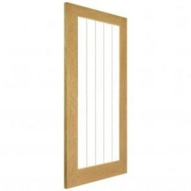 Ely Pre-Finished Internal 1L Oak Door with Clear V-Grooved Glass