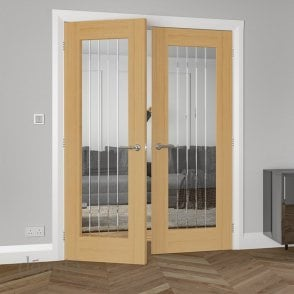 Deanta Ely Un-Finished Internal 1L Oak Door with Clear V-Grooved Glass