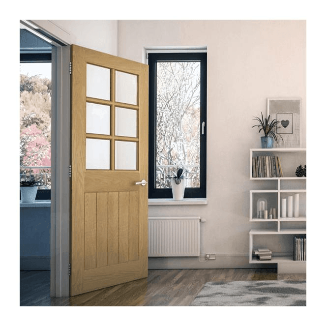 Deanta Ely Un-Finished Internal 6L Oak Door with Clear Bevelled Glass