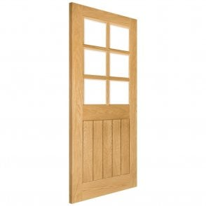 Deanta Ely Un-Finished Internal Oak Door with Clear Bevelled Glass