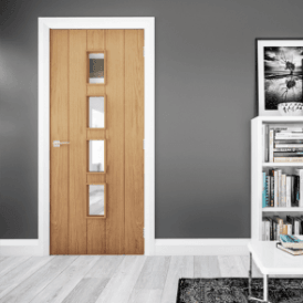 Galway Un-Finished Internal Oak FD30 Fire Door with Clear Glass