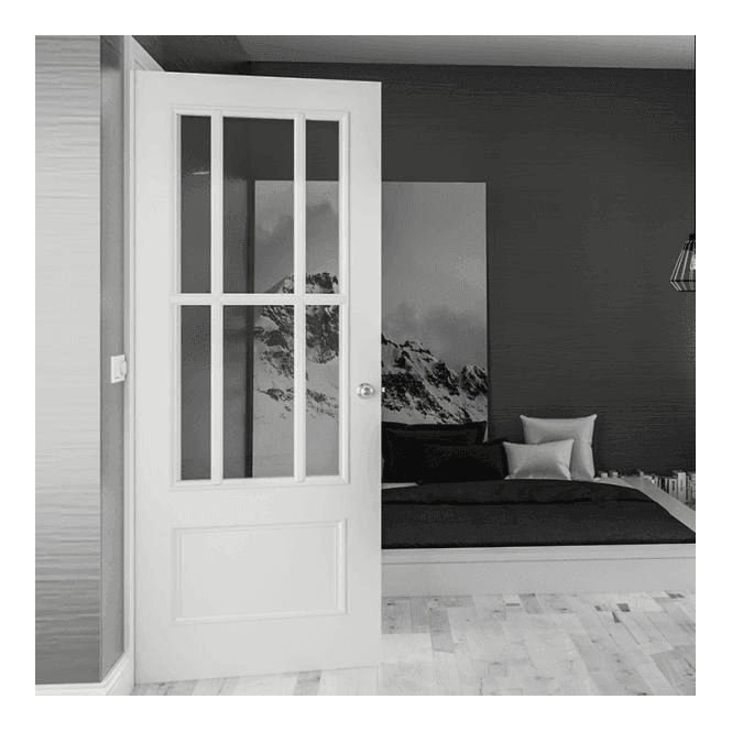 Deanta Internal White Primed Canterbury 6L Solid Door with Clear Glass