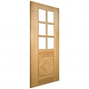Kensington Pre-Finished Internal Oak Door with Clear Bevelled Glass