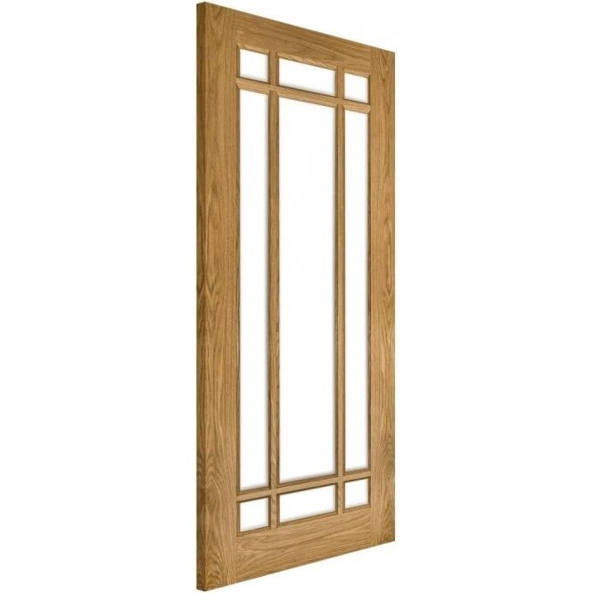 Deanta Kerry Un-Finished Internal Oak Door with Clear Bevelled Glass