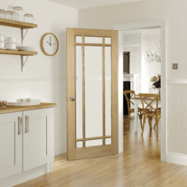 Kerry Un-Finished Internal Oak Door with Clear Bevelled Glass