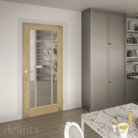 Norwich Un-Finished Internal Oak Door with Clear Bevelled Glass