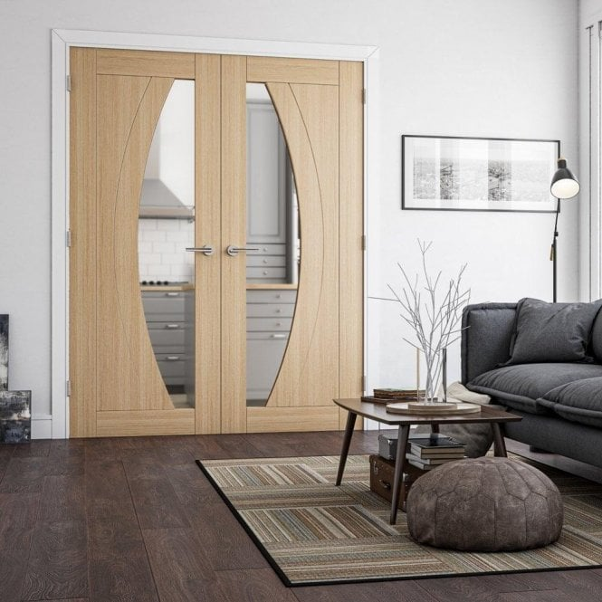 Deanta Ravello Pre-Finished Internal 1L Oak Door with Clear Glass
