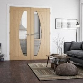 Ravello Pre-Finished Internal 1L Oak Door with Clear Glass
