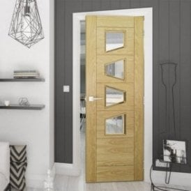 Seville 4P Slanted Clear Glazed Pre-Finished Internal Oak Door