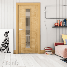 Seville Pre-Finished Internal 1L Oak Door with Clear Glass