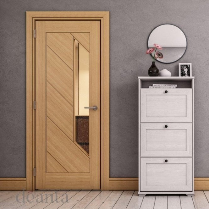 Deanta Torino Pre-Finished 1L Internal Oak Door with Clear Glass
