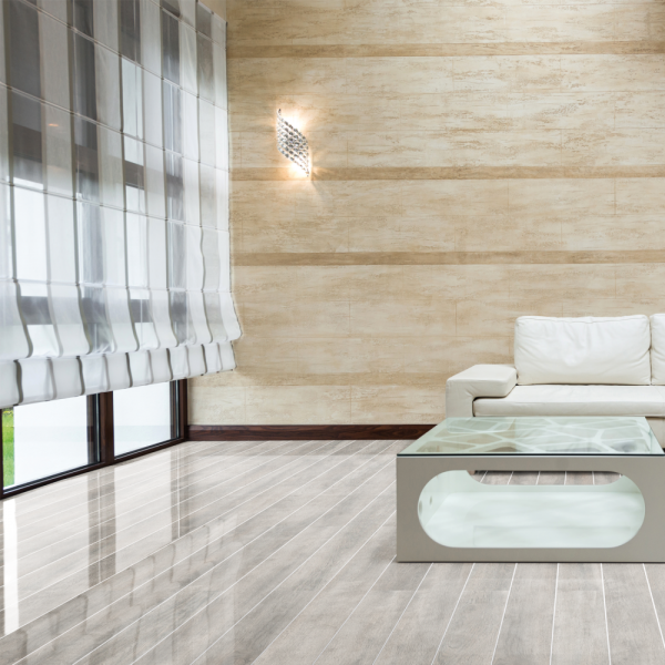 Falquon Flooring High Gloss White Oak With Silver Strip Laminate