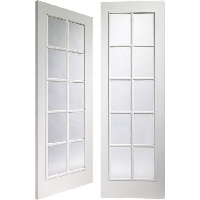 GW Leader CLEARANCE Portbello Internal White Pre-Finished Moulded Pair Door with Clear Glass (Slight Imperfections)