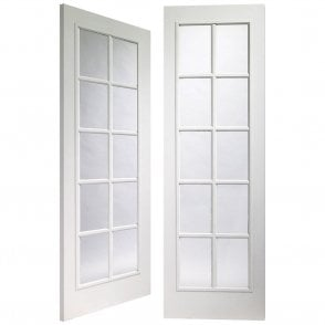 CLEARANCE Portbello Internal White Pre-Finished Moulded Pair Door with Clear Glass (Slight Imperfections)