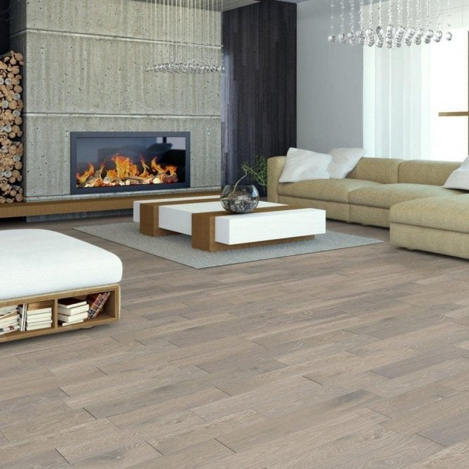 GW Leader Premier Floor 14mm x 125mm Grey White Washed Matt Lacquered Engineered Real Wood Flooring