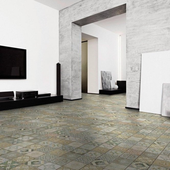 GW Leader Premier Floor Aurora 8mm Ornate Botannical Tile Laminate Flooring
