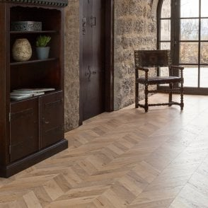 Premier Floor Chevron Parquet 8mm Natural Oak Embossed Laminate Flooring