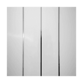 PVC Plastic Cladding 200mm x 2700mm White with Twin Silver Strip