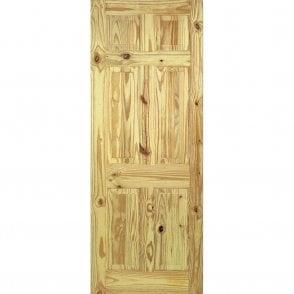 Unfinished Internal Knotty Pine 6 Panel Door