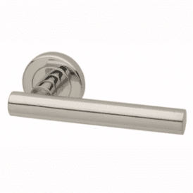 Nevis Round Rose Polished Stainless Steel Lever Door Handle