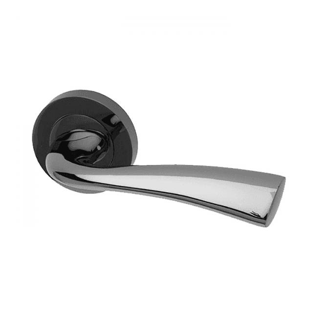Intelligent Hardware Scimitar Round Rose Black Nickel Lever Door Handle