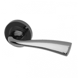 Scimitar Round Rose Black Nickel Lever Door Handle