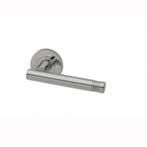 Strata Round Rose Polished Chrome Finish Lever Door Handle