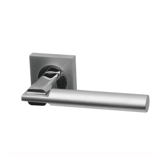 Intelligent Hardware Tetra Square Rose Dual Finish Lever Door Handle