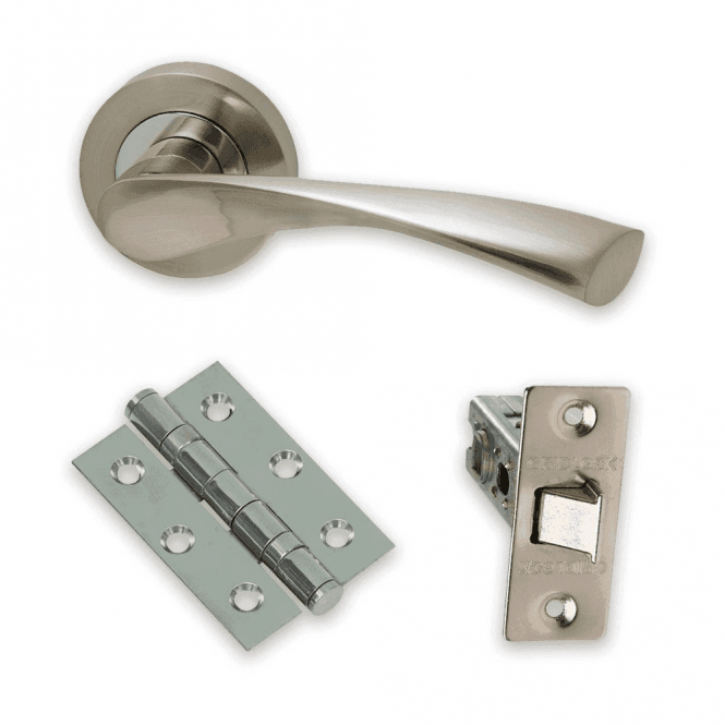 Intelligent Hardware The Developer Zeta Polished Chrome & Satin Nickel Door Handle Pack