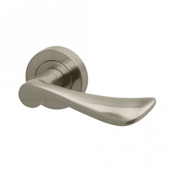 Intelligent Hardware Worcester Round Rose Satin Nickel Lever Door Handle. U2039