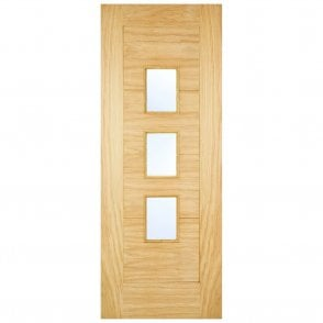 External Oak Unfinished Arta 4P Warmer Door with Frosted Glass