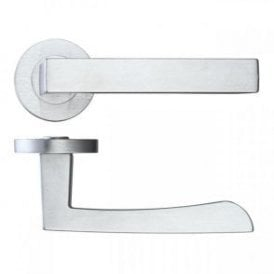 Fornax Satin Chrome Lever Door Handle Hardware Pack