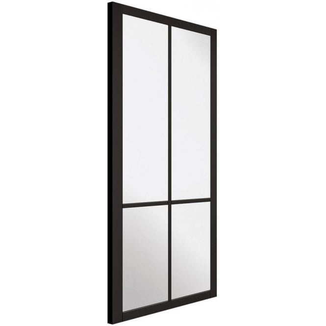 LPD Doors Internal Black Primed Industrial Style Liberty 4L Door with Clear Glass