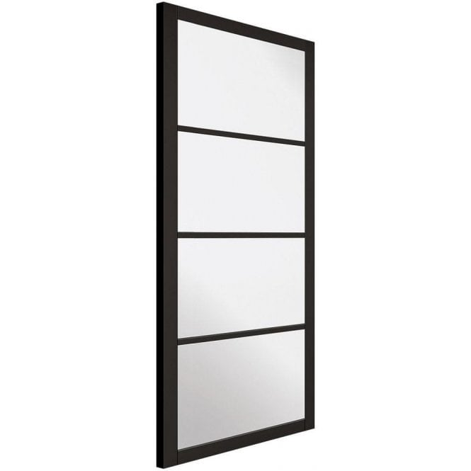 LPD Doors Internal Black Primed Industrial Style Soho 4L Door with Clear Glass