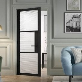 Internal Black Primed Plus Tribeca 3L Reeded Glass Door