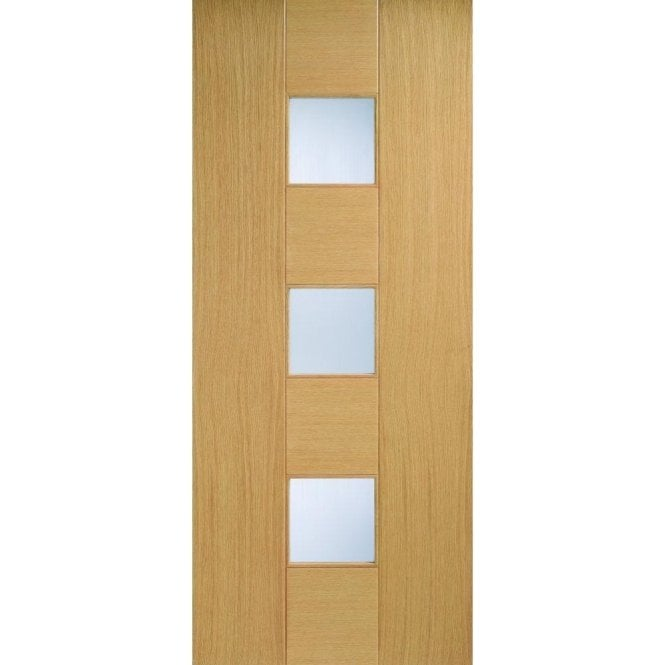 LPD Doors Internal Oak Pre-Finished Catalonia Door with Linea Glass