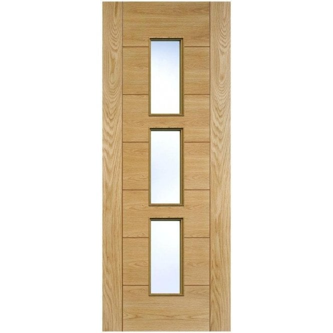 LPD Doors Internal Oak Pre-Finished Hampshire 3L Door with Clear Glass