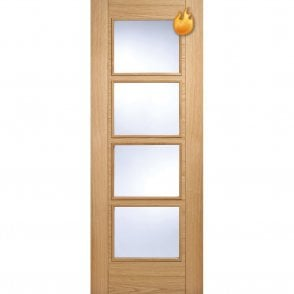 Internal Oak Pre-Finished Vancouver 4 Light Fire Door