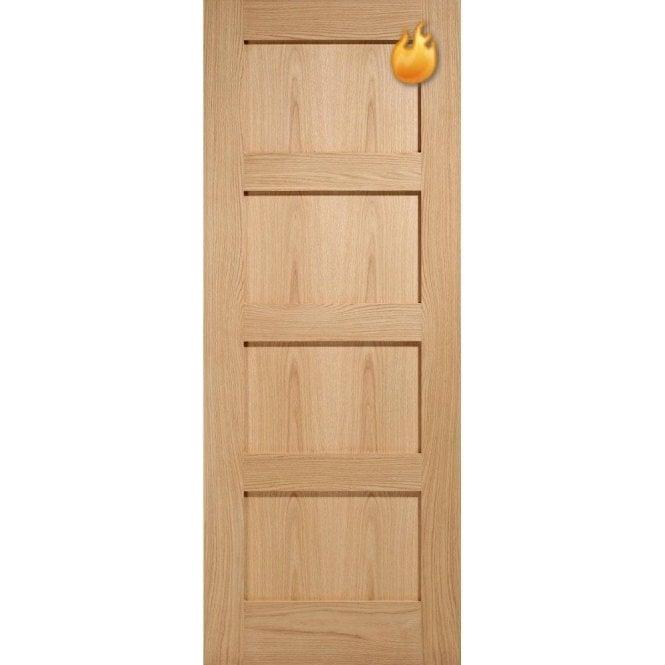 LPD Doors Internal Oak Unfinished 4 Panel Contemporary Fire Door