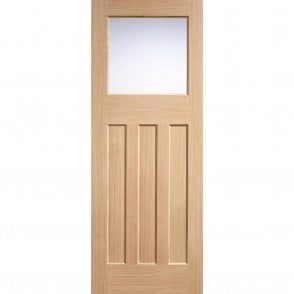 Internal Oak Unfinished DX 30's Style 1L Door with Frosted Glass