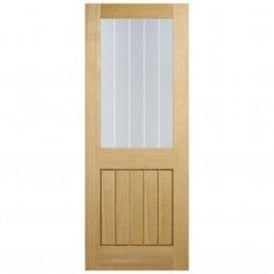 Internal Oak Unfinished Mexicano 1L Door with Silkscreen Glass