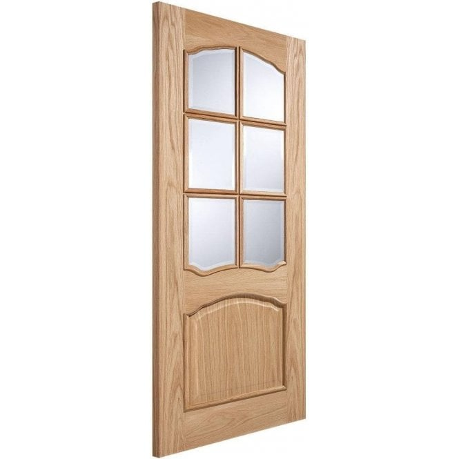 LPD Doors Internal Oak Unfinished Riviera 6L Door with Clear Bevelled Glass