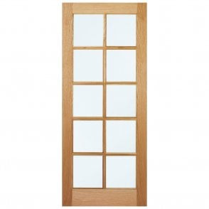 Internal Oak Unfinished SA 10L Door with Clear Glass