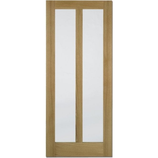 LPD Doors Internal Oak Unfinished Vermont Contemporary Door with Clear Glass